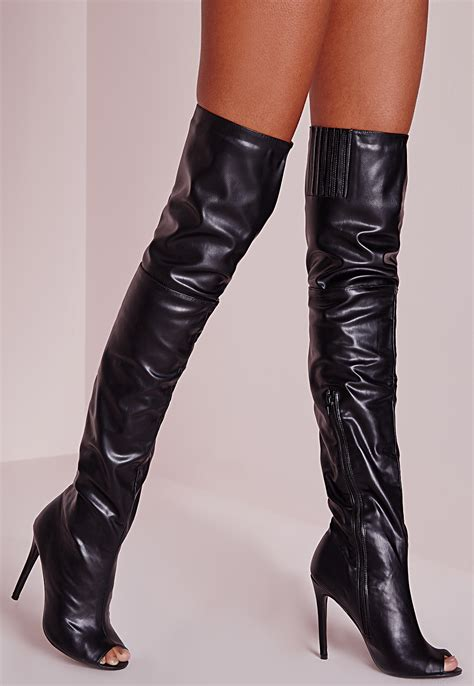 missguided peace the knee faux leather peep