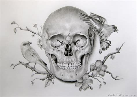awesome flowery crown u0026 skull skull flower pencil and in color skull flower