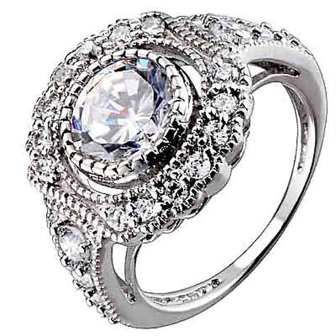 sterling silver cubic zirconia antique style