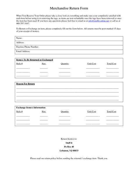 Merchandise Return Form Template best photos of return merchandise template return