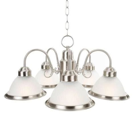 commercial electric chandelier commercial electric halophane 5 light brushed nickel