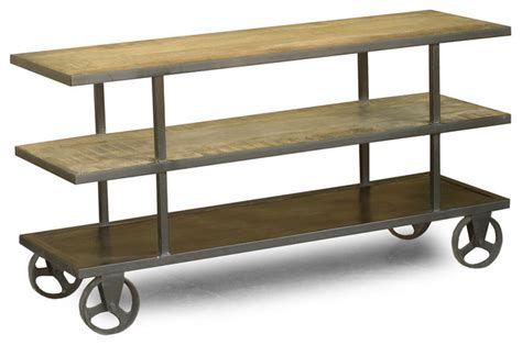 entertainment center on wheels reclaimed wood and iron tv console with wheels eclectic