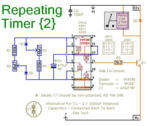 timer switch circuit diagram a repeating timer circuit