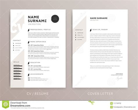 stylish curriculum vitae cover letter template stock