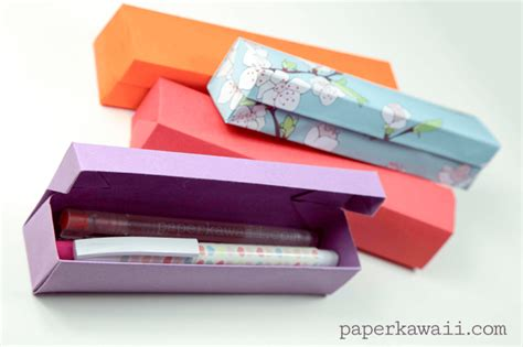 How To Make Paper Pencil - origami pencil box tutorial paper kawaii