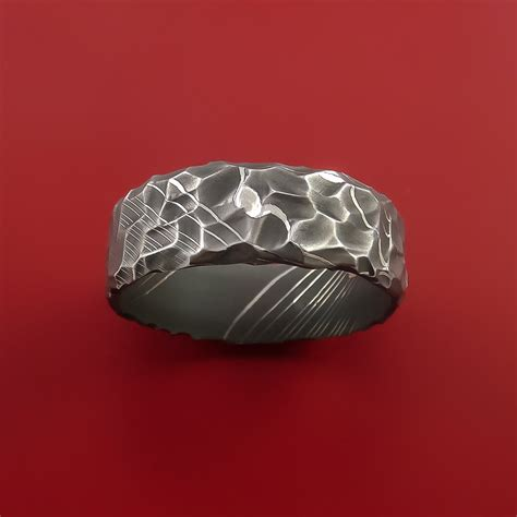 damascus steel pattern types csgo damascus steel ring with hammer rock finish custom made to