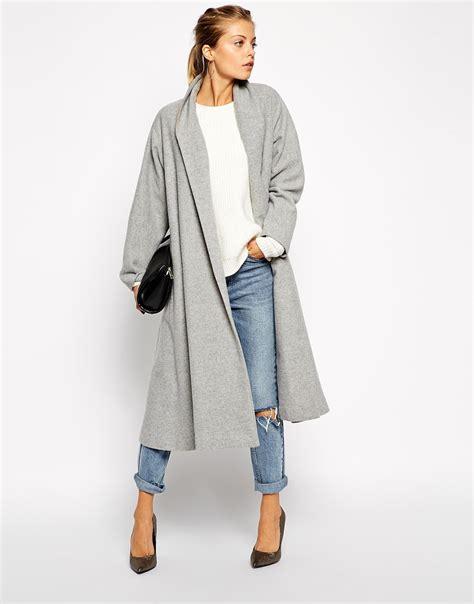 Jaket Grey Style Longsleeve grey sleeve lapel pockets oversized coat sheinside