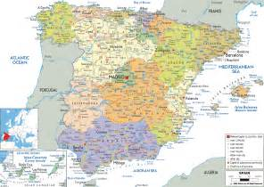 map of all cities large detailed political and administrative map of spain