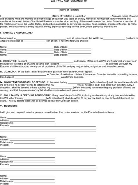 Download Arkansas Last Will And Testament Form For Free Page 3 Tidytemplates Arkansas Will Template