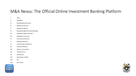 Mba 2 Years Investment Banking by M A Nexus The Official Investment Banking Platform