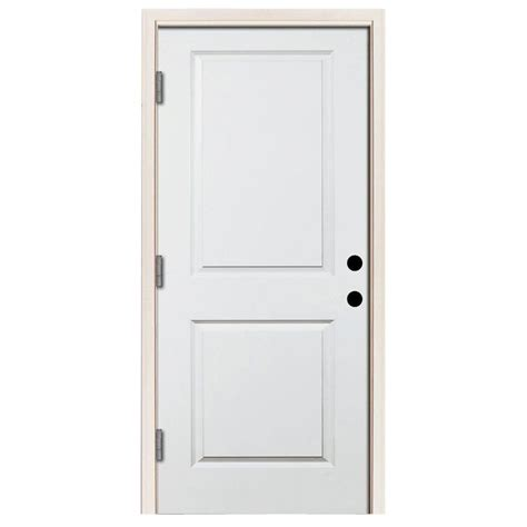 Outswing Front Door Steves Sons 32 In X 80 In Premium White Right Outswing 2 Panel Square Primed Steel
