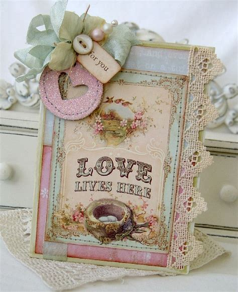 Vintage Paper Crafts - shabby quot lives here quot card with touches of vintage lace