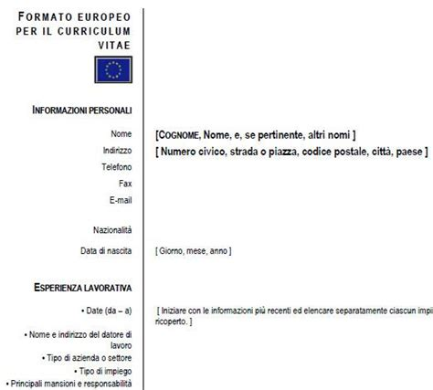 Formato Europeo Curriculum Vitae Tedesco Modello Curriculum Vitae Curriculum Europeo