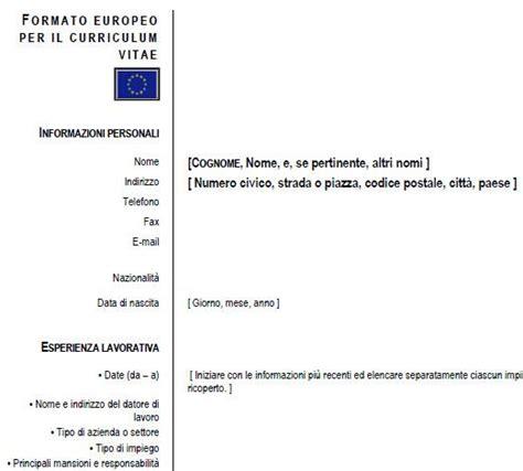Modelo Curriculum Vitae Europeo Doc Modello Curriculum Vitae Curriculum Europeo