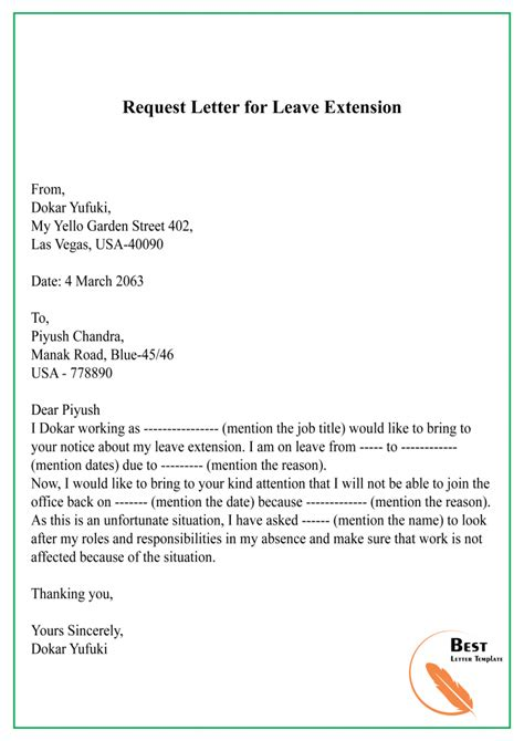 sample request letter template leave vacation holiday