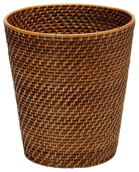 Kitchen Cabinet Trash Bin by Round Rattan Waste Basket Honey Brown Contemporary
