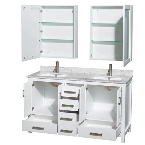 sheffield 60 inch double sink bathroom vanity white finish