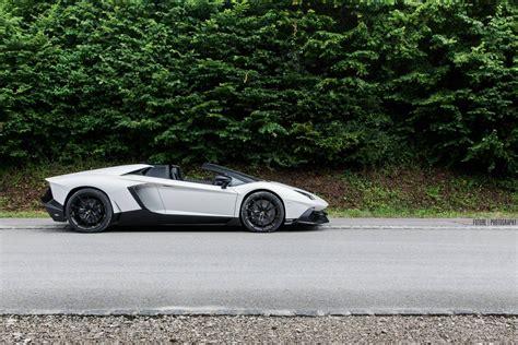 bianco lamborghini aventador 50th anniversario roadster photoshoot gtspirit