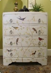 8 Drawer Jewelry Armoire Painted Bird Dresser