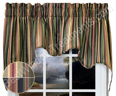 Curtains And Toppers Montego Bay Stripe Empress Swag Window Topper