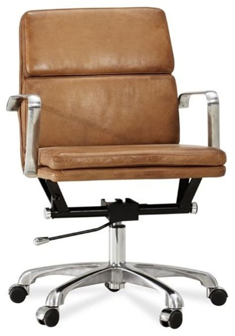 Modern Leather Desk Chair Nash Leather Swivel Desk Chair Modern Office Chairs Sacramento By Pottery Barn