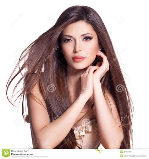 beautiful white pretty woman with long straight hair stock