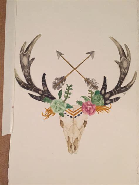 watercolor deer tutorial deer skull with arrows and flowers watercolor deer skull