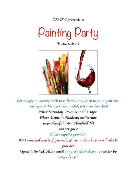 painting party fundraiser for summer drama workshop