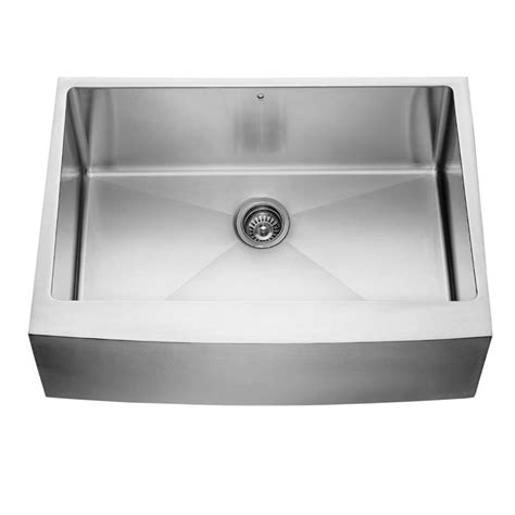 Front Apron Kitchen Sinks Shop Vigo Stainless Steel Single Basin Apron Front Farmhouse Kitchen Sink At Lowes