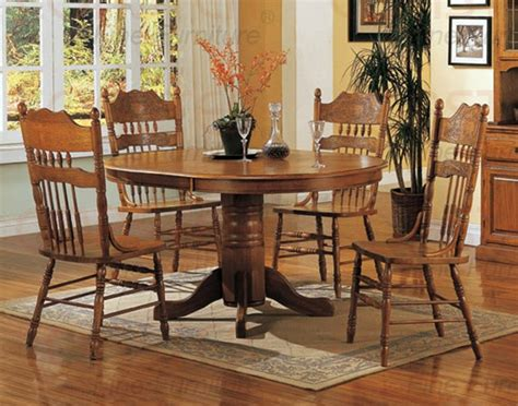 Nostalgia 5 Piece 42 Inch Round Dining Set With Press Back Light Oak Dining Room Set