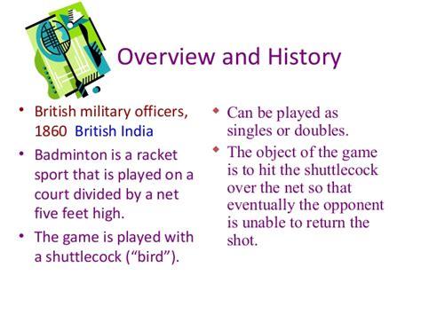 brief history of badminton badminton power point presentation