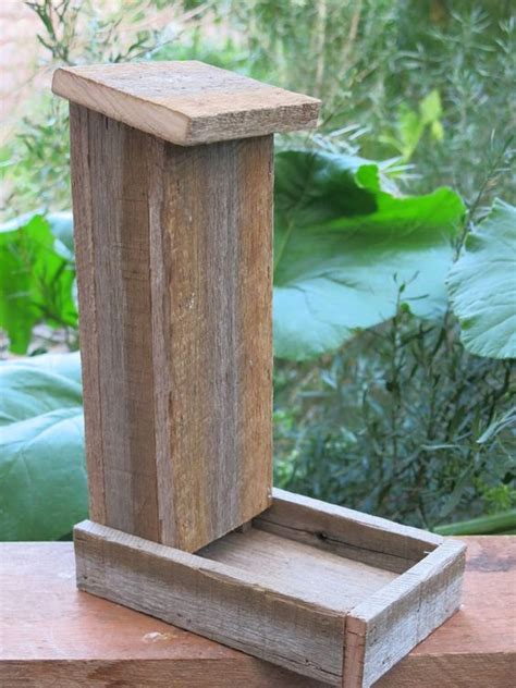 Handmade Bird Feeder - handmade reclaimed recycled hardwood bird feeder via