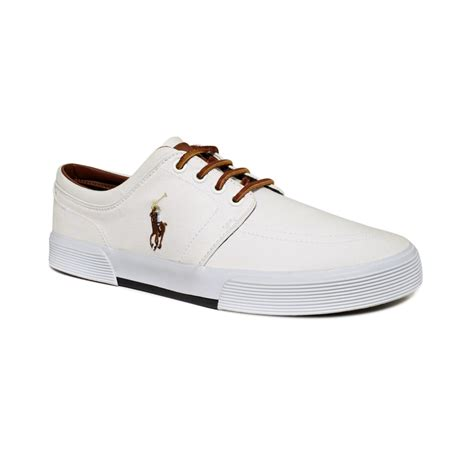 white polo shoes ralph faxon low sneakers in black for lyst