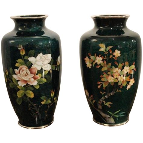 Large Cloisonne Vase by Large Pair Of Green Ground Ginbari Cloisonn 233 Vases At 1stdibs