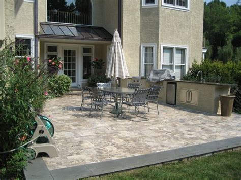 Travertine Backyard by Inexpensive Patio Designs Rooftop Terrace Design Ideas