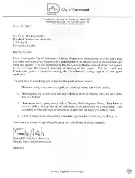 Endorsement Letter L G gateway redevelopment davenport ia