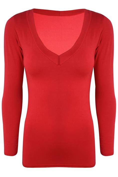 Sleeve Plain V Neck Top womens v neck basic t shirt sleeve stretchy