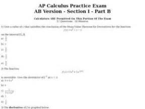 calculus ab section 1 part a a p calculus practice exam ab version section i part b