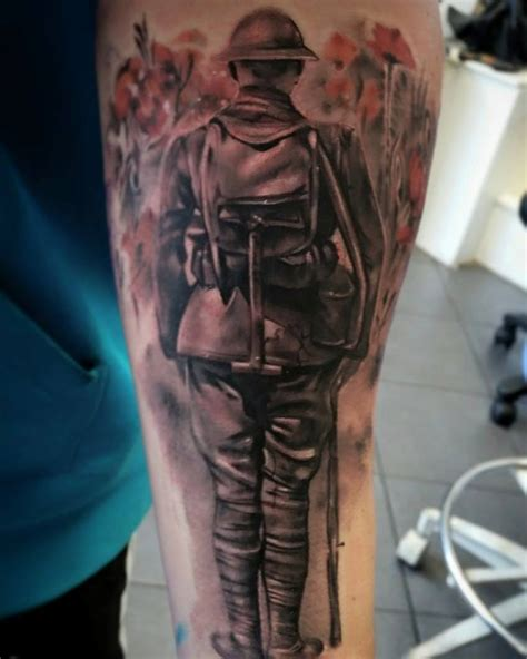 soldier tattoo memorial remembrance soldier sleeve with