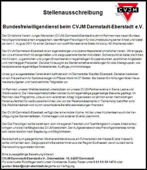 Cvjm Bewerbung Stellenausschreibung Bundesfreiwilligendienst Im Cvjm Eberstadt Cvjm Eberstadt
