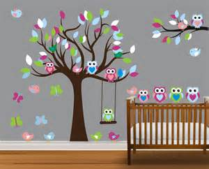 Nursery Owl Wall Decals Vinyl Wall Decal On Sale Colorful Nursery Owl Family Tree Trees Owls Home House Wall