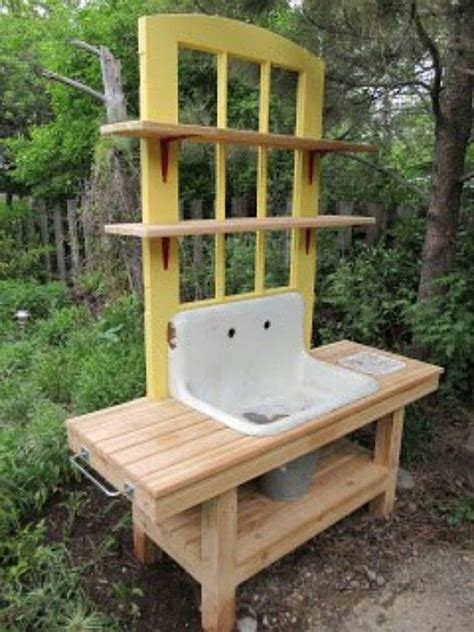 old door potting bench potting bench with old sink and door diy and crafts