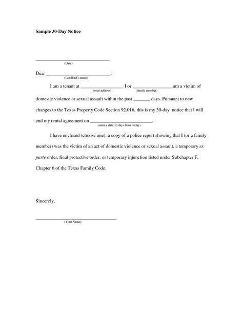 written notice letter template 30 day notice to vacate letter to tenant template
