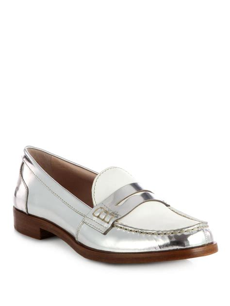 silver loafers metallic miu miu bicolor metallic leather loafers in silver silver