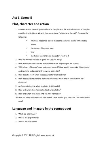 Romeo And Juliet Act 1 Worksheet by Romeo And Juliet Act 1 5 Comprehension By