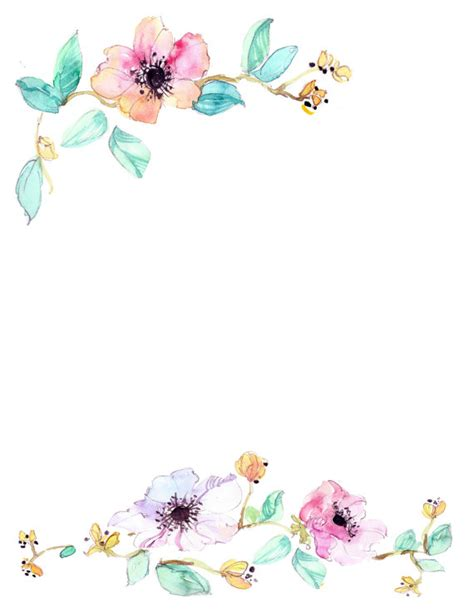 flower wallpaper etsy downloadable watercolor floral border by waterncolour on