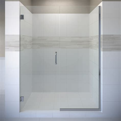 Frameless Pivot Shower Door Shop Basco Celesta 58 0625 In To 59 In Frameless Pivot Shower Door At Lowes