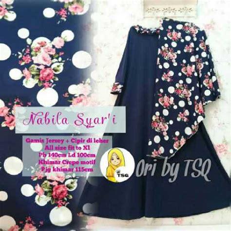 Gamis Abaya Nabila Syari Bergo Lengan Panjang baju muslim modern nabila syari a181 model gamis jumbo