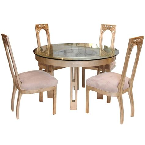 Silver Dining Table And Chairs 1960s Glazed Silver Leaf Dining Table And Four Chair Set By Mont At 1stdibs