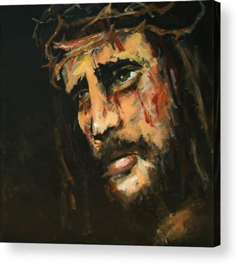 acrylic painting of jesus crucified jesus acrylic print by carole foret